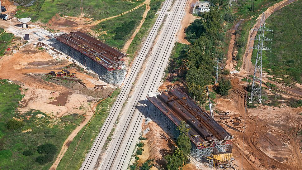 The PERI formwork and shoring solution as well as the ongoing jobsite support accelerated the construction work for the 450-meter-long highway bridge (structure 301).