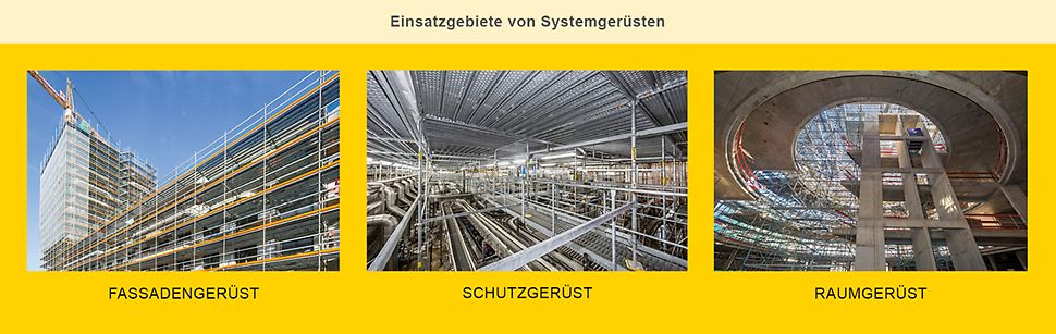 Einsatzgebiete von Systemgerüsten: Das Spektrum reicht vom längenorientierten Fassadengerüst über unterschiedliche Aufbauten als Schutzgerüst bis zum Einsatz als Raumgerüst.