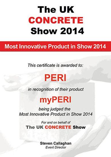 """Uruchomienie portalu na rynku brytyjskim spotkało się z ogromnym zainteresowaniem: podczas """"UK CONCRETE Show"""" myPERI otrzymał nagrodę jako """"Most Innovative Product""""."""