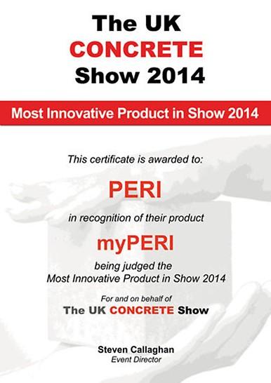 Certificado por el premio al producto más innovador