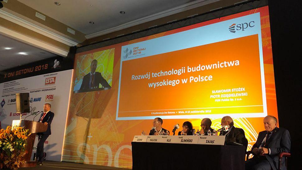 Piotr Dzięgielewski - prelegent PERI podczas prezentacji na temat budownictwa wysokiego, Wisła, Dni Betonu 2018