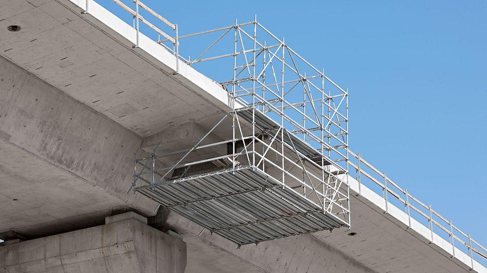 PERI UP viseća skela omogućila je bezbedan pristup mestima dilatacije na stubovima.