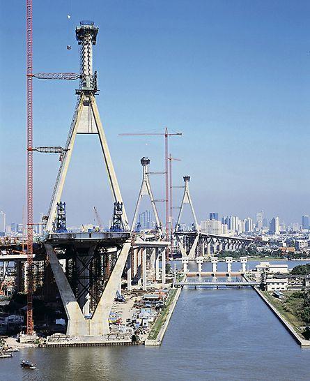 Mega Bridge, Industrial Ring Road, Bangkok, Thailand - Die Pylone gliedern sich in 3 Abschnitte mit komplizierten Übergängen. Die stufenlos verstellbaren Konsolen des ACS V Klettersystems stellen zu jeder Zeit waagrechte Bühnen für sicheres und ergonomisches Arbeiten zur Verfügung.