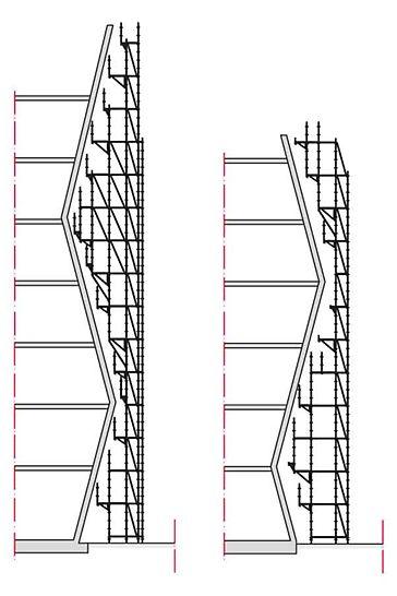 Los ajustes a la forma del edificio se consiguen generando una trama uniforme, modulada cada 25 cm, que permite un gran nivel de flexibilidad para complejos andamios de fachada