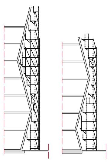 Adjustments to the building shape are carried out in a uniform grid arrangement of 25 cm which provides a high level of flexibility for complex facade scaffolding