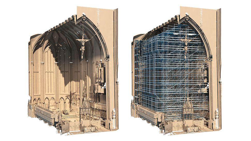 Der Innenraum wurde mangels Bestandsplänen mithilfe von 3D-Laser-Scanning erfasst und in ein 3D-Bauwerksmodell überführt – als Grundlage für die Gerüstplanung mit PERI CAD.