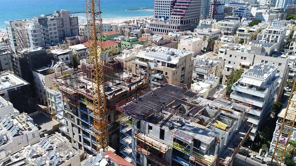 2 בנייני יוקרה בסביבה אורבנית צפופה מחייבת שיטות ביצוע ברמת בטיחות גבוהה לסביבת האתר.