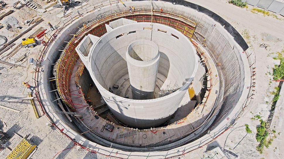 Retenční nádrž, Brno: Retenční nádrž tvořená třemi válci s kruhovými stěnami různých poloměrů a výšek.