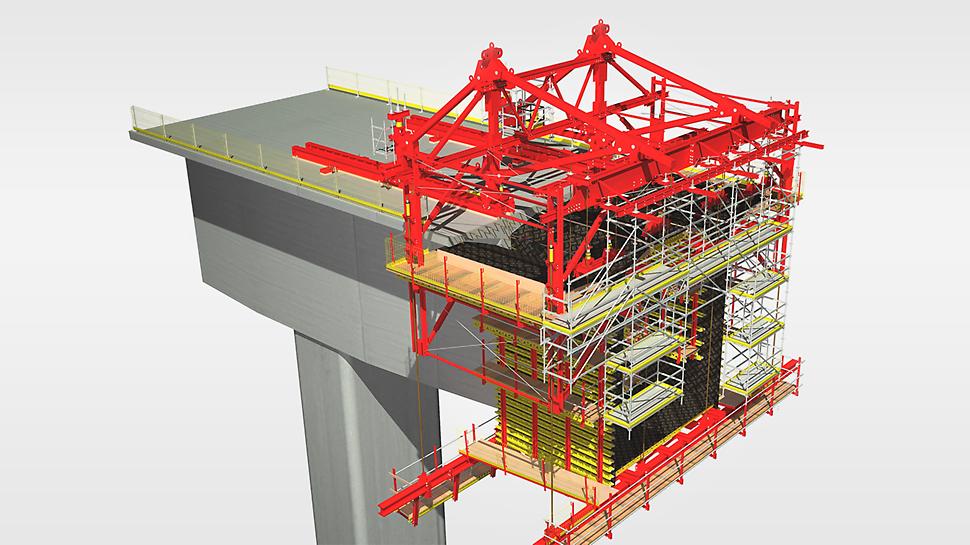 Vůz pro letmou betonáž VARIOKIT - rychle a se zajištěním rozměrové stálosti až do dokončení mostu.