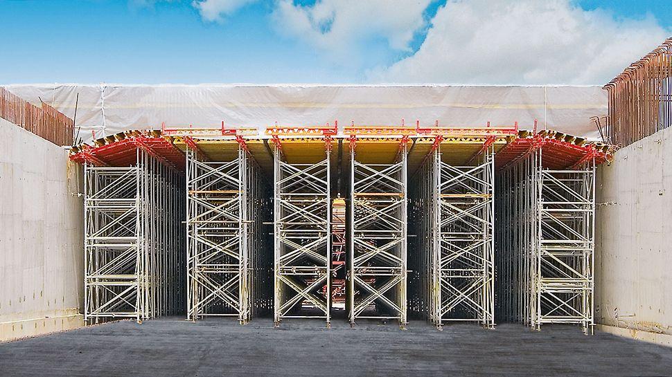 Bei diesem Tunnelbauwerk trägt das PD 8 System Decken mit einer Deckenstärke von bis zu 1,50 m.