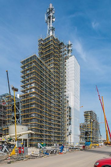 The plant components of BASF's new acetylene plant reach up to 90 m in height.