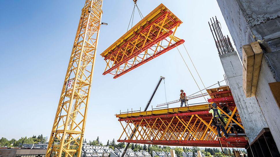 Die VRB Rüstbinder werden zu Rüstbinderpaketen mit Plattformeinheit montiert und ragen ab Ebene 4 rund 9 m aus dem Gebäude heraus.
