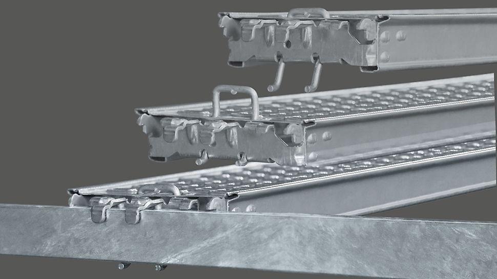 The decking is mounted directly on the steel ledgers and held securely in position without requiring any additional components. Stålplank monteres direkte på horisontalen og låser i sikker posisjon, uten nødvendige ekstra komponenter.