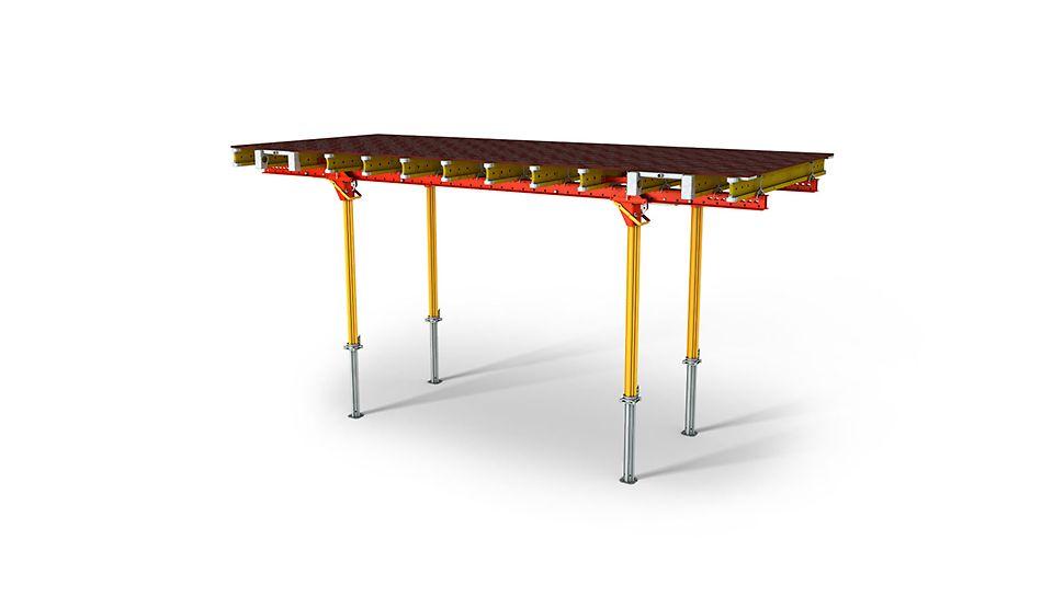 Stropný stôl s oceľovými závorami pre veľké debniace plochy a ťažké prefabrikáty.