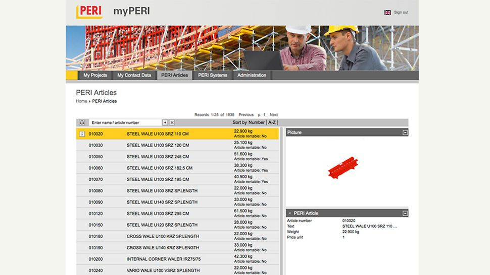 myPERI user interface - PERI products, three-dimensional with precise item designation and weight The product overview provides insight into the whole PERI product portfolio. Pictures of items and weight specifications simplify its utilization. Produktoversikt gir en innsikt i hele PERI portefølje. Informasjon med bilder og vekt.
