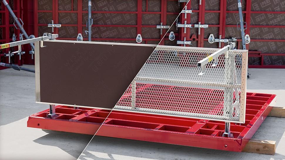 Modulært design: MXK konsolsystem er meget fleksibelt og kan tilpasses forskellige krav på byggepladsen. Varianter med træ eller stål er muligt. Finérplader kan f.eks. fastgøres med beslag på konsollen.