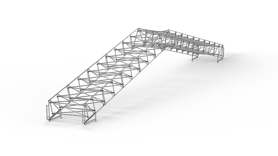 PERI UP Flex dak voor weersbescherming: De LGS standaardcomponenten vormen de basis van variabele dakvormen.