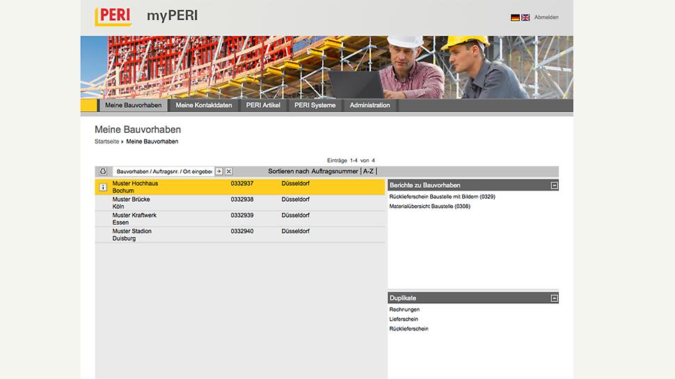 Sur myPERI, le client peut retrouver tous les chantiers en cours où il utilise les produits PERI.