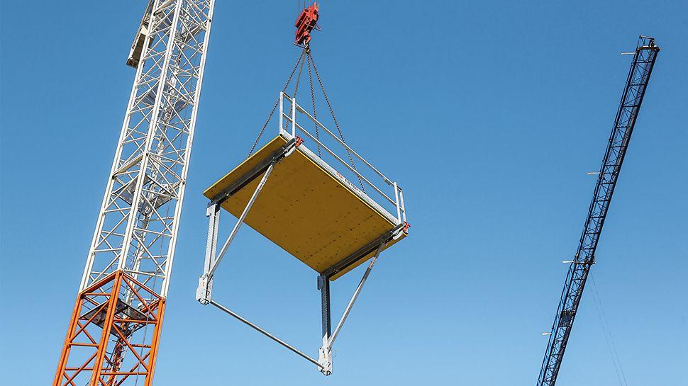 Pomost składany jest dostarczany w postaci zmontowanej i daje się sprawnie zawiesić w przeznaczonym miejscu dzięki czterocięgnowemu zawiesiu.