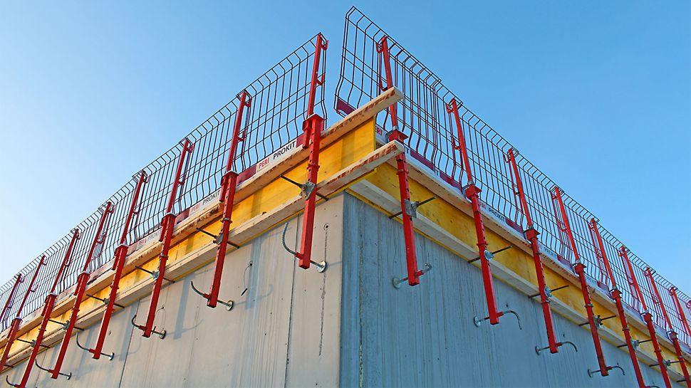 PROKIT-järjestelmä toimi suojakaiteena holvin avoimilla reunoilla.