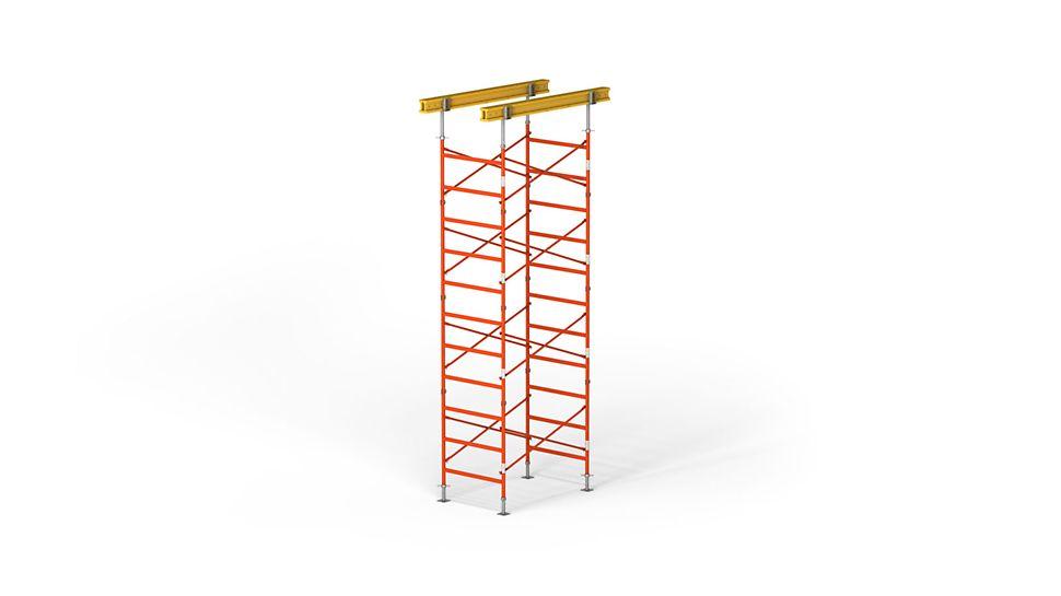 Mit einer Höhe von 9,65 m und einem Spindelauszug von insgesamt 0,65 m wird eine Tragfähigkeit von bis zu 47,2 kN pro Stiel erreicht. Dadurch benötigen Sie weniger Stütztürme und sparen Material auf Ihrer Baustelle.