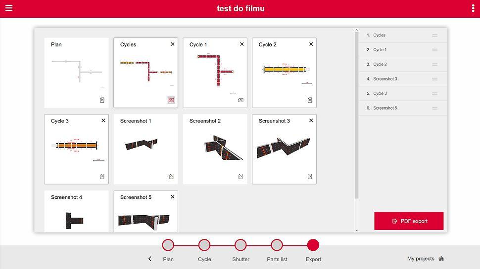 Wybierz, które widoki chcesz zapisać w formacie PDF. Aplikacja pozwala określić kolejność i układ poszczególnych stron.