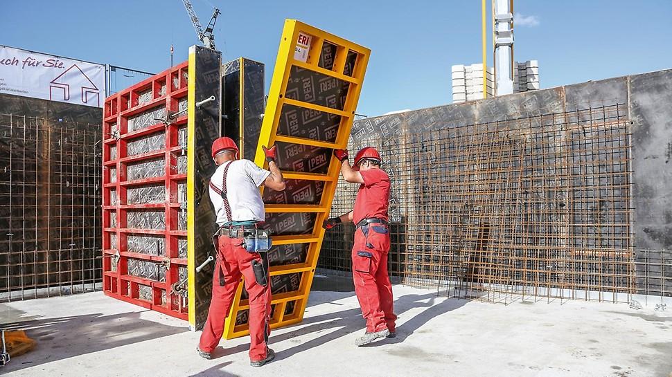 Les panneaux TRIO Aluminium sont recouverts d'un revêtement poudre jaune et peuvent être déplacés aisément à la main.
