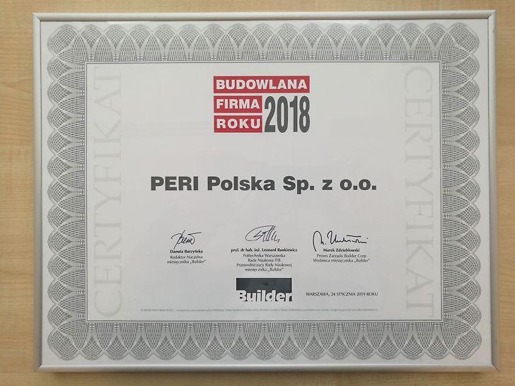 Budowlana Firma Roku 2018 - PERI Polska