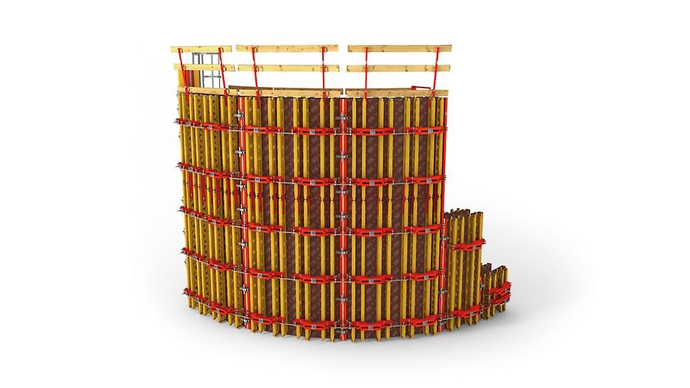Cofraj continuu și ușor ajustabil pentru pereți curbi cu raze mai mari de 1,0m fără modificări ale panourilor