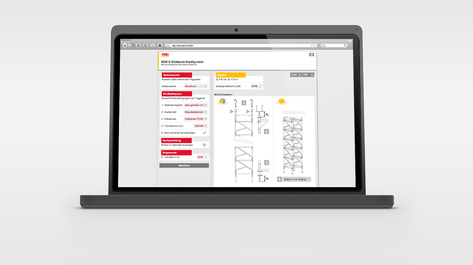 The MDS K Shoring Tower Configurator for the calculation of the permissible leg loads and the minimum loads against sliding.