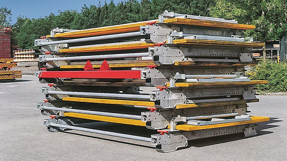 Con sólo 27 cm de altura de apilado cuando está plegada, ocupa poco espacio durante el transporte, en la obra y en patios de almacenamiento de material.