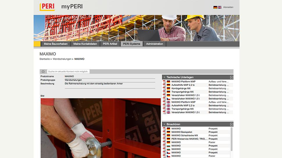 Un seul clic suffit pour télécharger divers documents importants se rapportant aux systèmes PERI, notamment les instructions d'assemblage