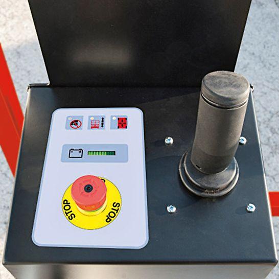 El joystick permite elevar, descender y desplazar el elevador de modo confortable y fácil, incluso con guantes de trabajo
