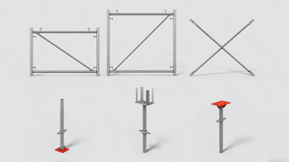 Rahmen, Diagonalkreuz, Kreuzkopfspindel, Wirbelmutter, Spindelrohr, Fußplatte und Kopfplatte