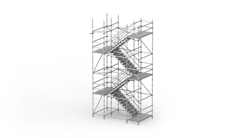 PERI UP Flex oceľlové schodisko 100/ 125: Stavebné schodisko pre vysoké požiadavky na nosnosť a pohodlný výstup.