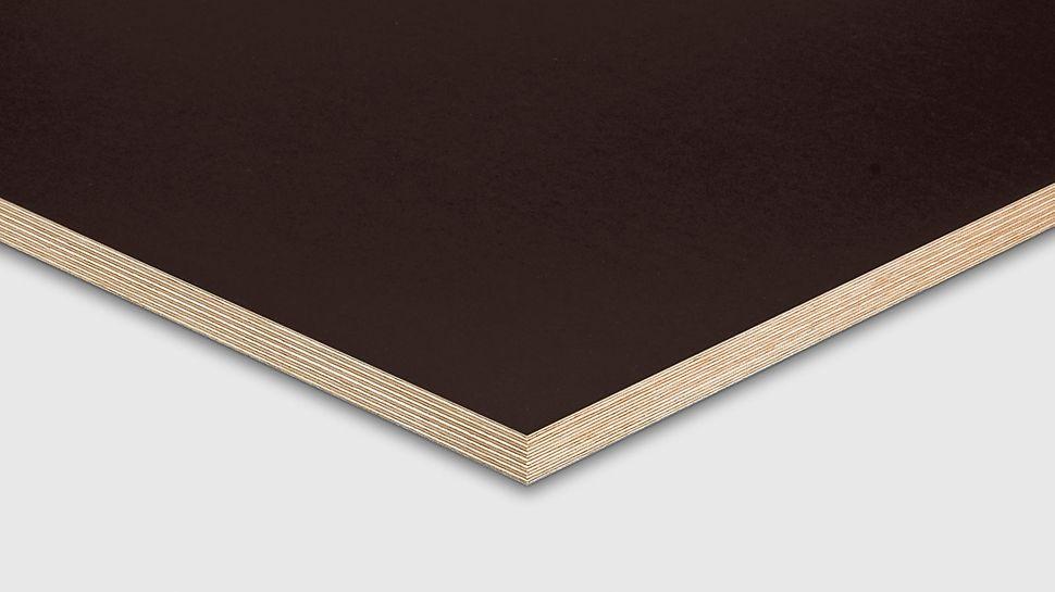 El tablero de encofrado PERI FinPly Plus reduce el hinchamiento de la madera gracias a su revestimiento fenólico.