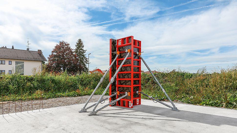 Mit dem Mehrzweckelement LWM 75 lassen sich Säulenquerschnitte von 15 cm bis 55 cm im 5-cm-Raster schalen. Die Elemente werden per Eckverbinder zusammengebaut.