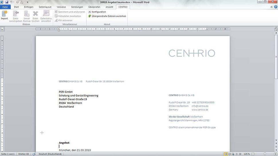 Add-Ins für beispielsweise Microsoft Office erlauben den einfachen Datenaustausch mit CENTRIO CLM.