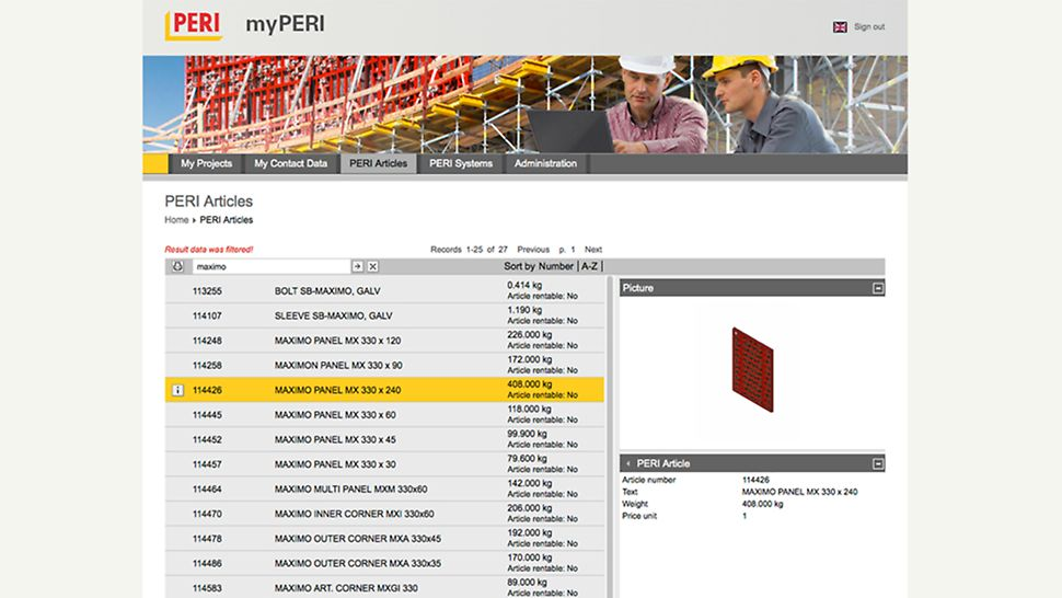 screenshot of the myPERI desktop with an overview of a PERI system