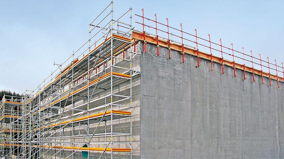 PERI UP Flex Fasadställning: Byggnadsställningens bredd kan väljas fritt anpassas för att möta olika krav.