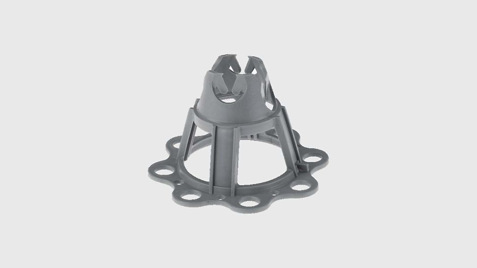 Plastic spacer with base plate, to ensure maintenance of specified cover to the reinforcement