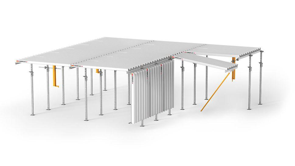 Cofrajul pentru planșee flexibil, rentabil și eficient pentru cele mai simple operațiuni de asamblare și cel mai înalt nivel de siguranță.