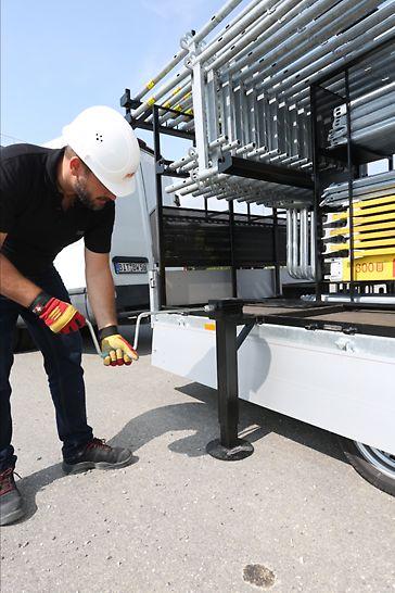Optional kann man das Gestell zur Lagerung von Gerüstbauteilen auch freistellen.