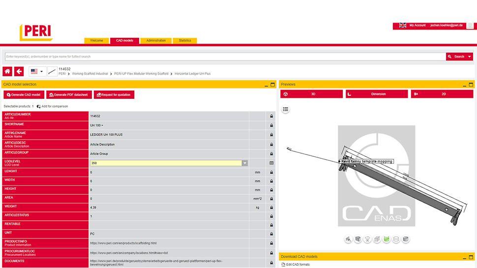 BIM CAD Bauteilbibliothek für den Gerüstbau