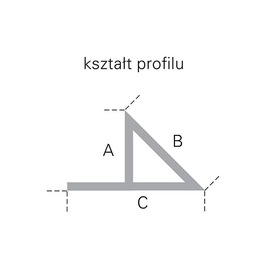 Listwa trójkątna z noskiem L = 2,5 m: kształt profilu