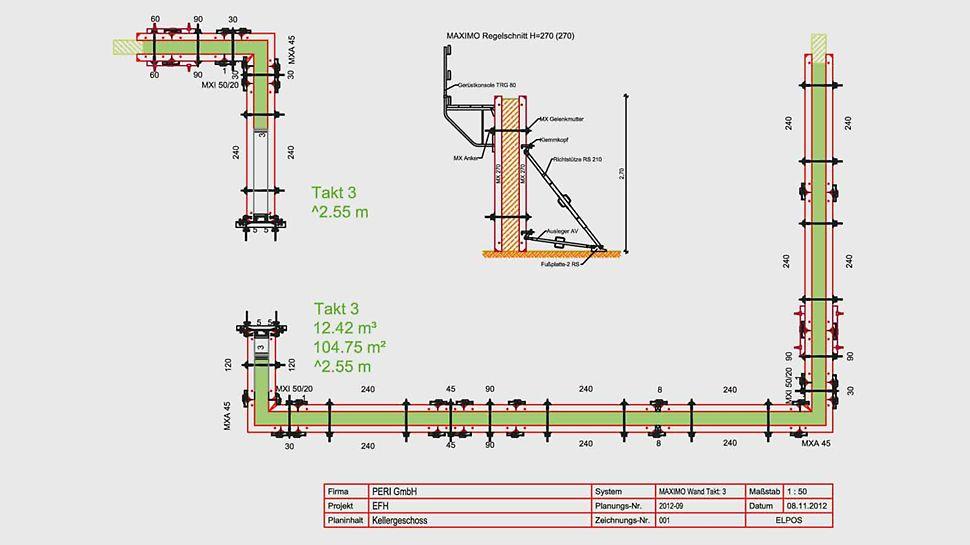 El ejemplo de la planificación con ELPOS ilustra una representación de planos fácilmente comprensible y apta para la obra