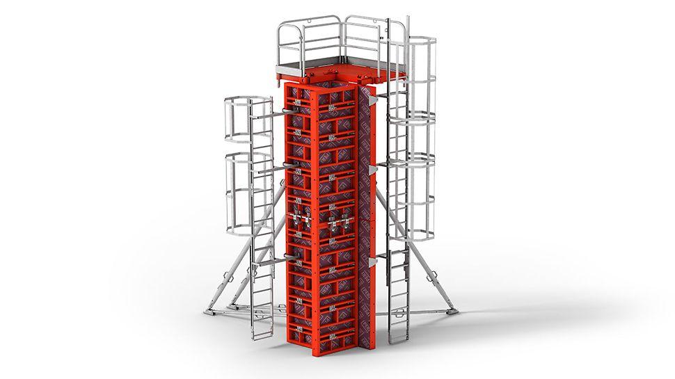 Encofrado para pilares TRIO: Módulos para muros y pilares, con secciones de hasta 75 x 75 cm