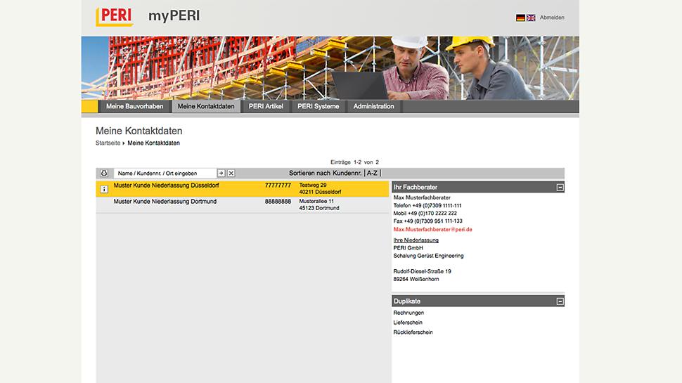 Capture d'écran de la fonction d'aperçu des projets de myPERI