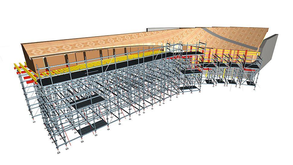 Aquatics Centre, Londýn: Pro jednotný vzhled betonu se technici PERI již od počátku zaměřili na kompletní uspořádání panelů. Díky trojrozměrnému modelu mohly být všechny detaily jako např. uspořádání spár a umístění kotev odsouhlaseny londýnskou architektonickou kanceláří.