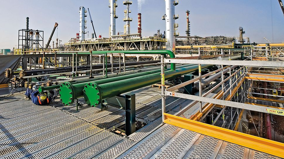 Maksimal tilpasningsevne, højt sikkerhedsniveau og hurtig samling - alt dette gør PERI UP Rosett Flex det ideelle system til brug i industrien.